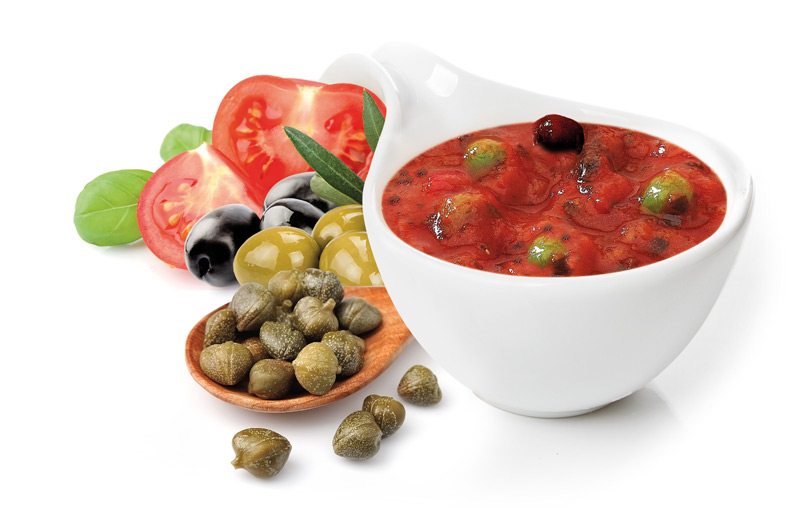 Sauce with olives and capers