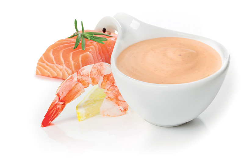 Sauce with salmon and shrimps